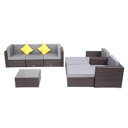 Patio Pe Wicker Rattan Corner Sofa 8 Pieces Set In 2020 Rattan Corner Sofa Waterproof Cushions Corner Sofa