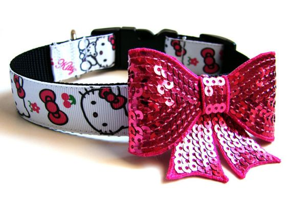 Pink Hello Kitty Dog Collar Comes with Matching Pink by Dogologie Designs, $20.00