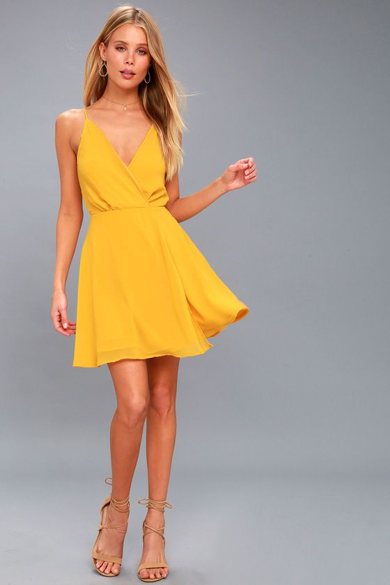Fire Golden Yellow Backless Dress