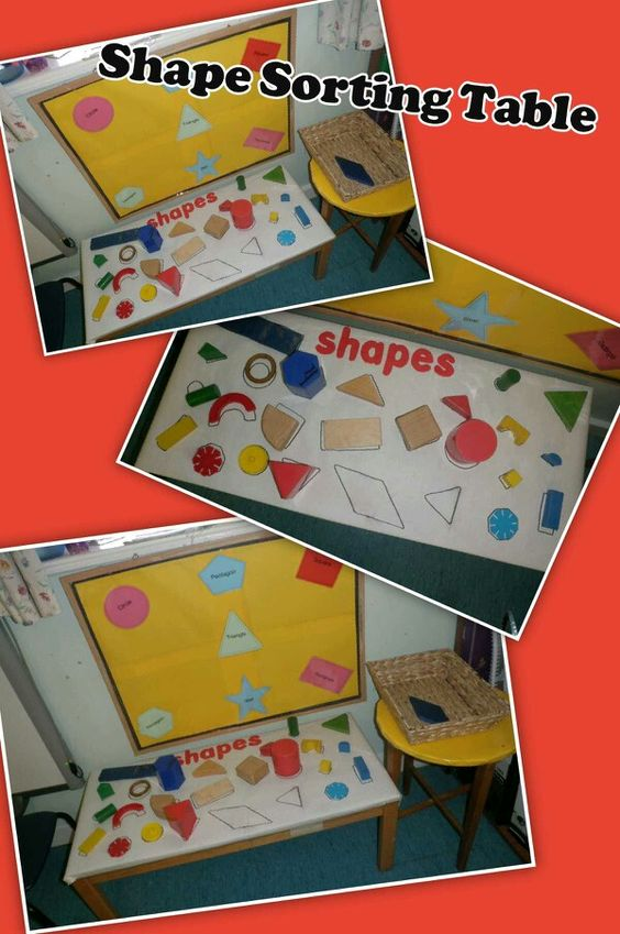 EYFS shape sorting table, maths, playing with and arranging shape, naming shapes, discussing shape features.