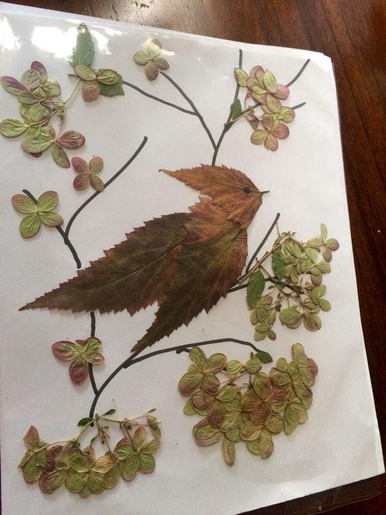 Dried leaf and flower bird art