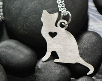 SALE - Sterling Silver Cat Necklace - Love Heart - Kitty Cat - Cat Lady - I Love Kitties - New Kitten - Animal Silhouette