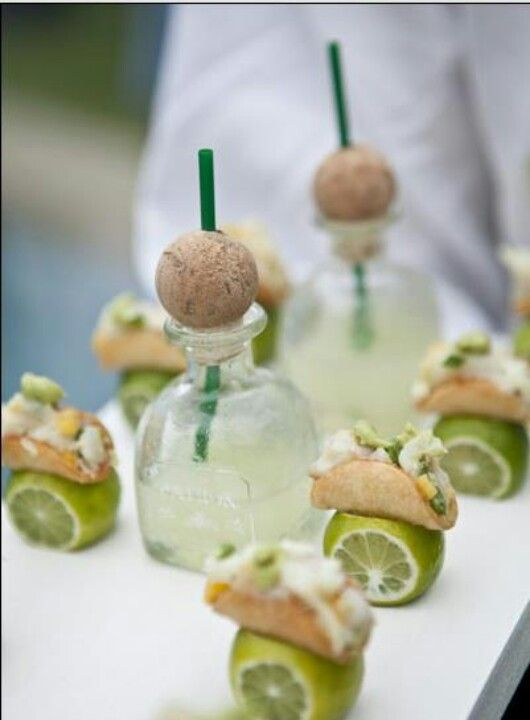Mini tacos and margaritas served in mini patron bottles... Love this idea! Classy & cute