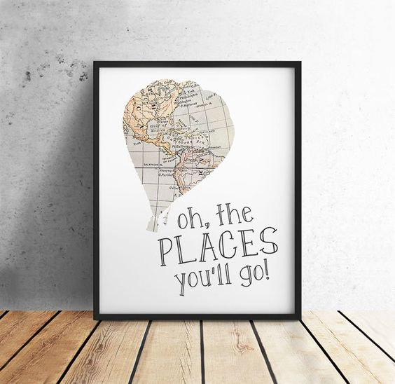 Dr Suess Quotes, Oh the Places You'll Go, PRINTABLE Art, Vintage Map, Hot Air Balloon, Nursery Decor, Literary Gift, 8x10 Digital Download by off2market on Etsy