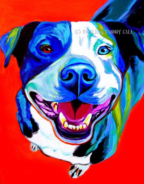 Colorful Pet Portrait Pit Bull Art Dog Print 8x10 by Alicia VanNoy Call
