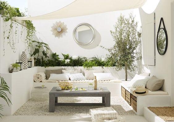 Ideas para crear salones de exterior. Salas de exterior. Decoración de espacios exteriores #jardin #decoracionexterior