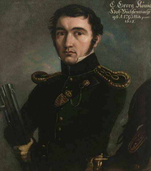 Caspar Georg König (1793-1857), court gunsmith (Hofbüchsenmacher) in Coburg. Oil on card, monogrammed 'WDR', 19th century, Kunstsammlungen der Veste Coburg