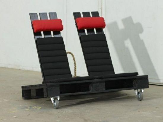 Gartenmöbel aus Paletten – trendy Außenmöbel basteln - diy projekt gartenmöbel aus paletten basteln liege sessel zu zweit auf zwei rollen