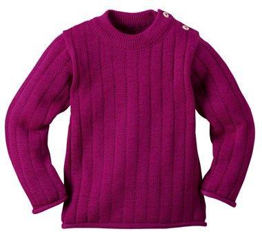 Pullover lana merinos a tinta unita Disana: morbida e calda lana merinos biologica al 100%. Disponibile in diversi colori e dalla taglia 62/68 alla 110/116 (dalla nascita ai 5/6 anni).