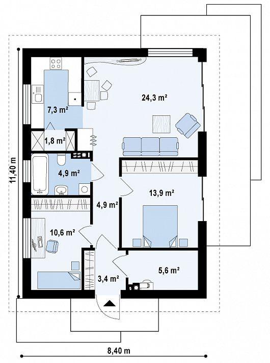 plano de casa tipo chalet moderno de 2 dormitorios 2 76m2 ForPlanos De Chalets