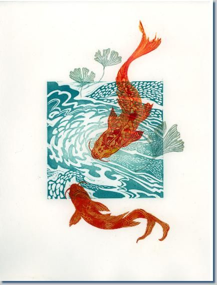 Journal Wednesday 01/04/2015  I like how the fish appear to be swimming 'outside' of the print.  April Wilson