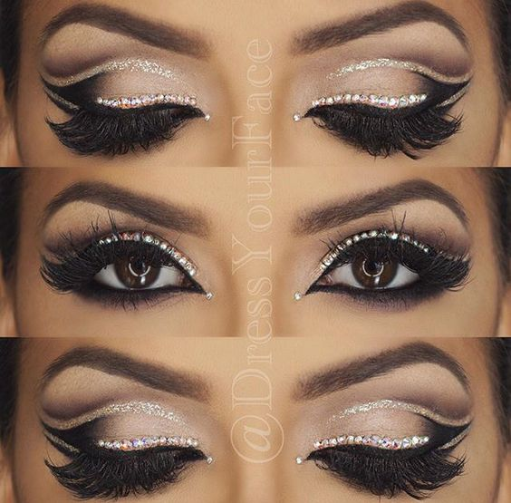 Perfect Wedding Eye Makeup : Double Cut Crease Glitter eye by #DressYourFace perfect ...
