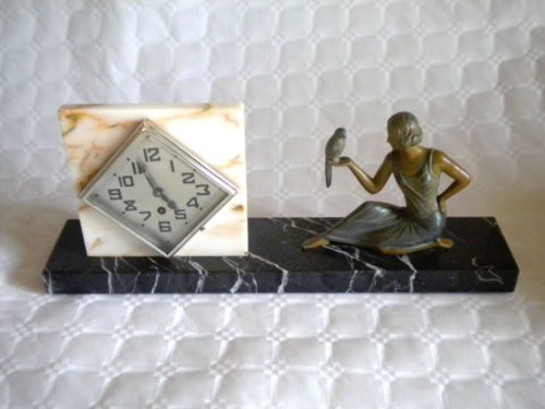 Art Deco Clock Lady on Marble with parrot French 1920s in Antiques, Periods/Styles, Art Deco   eBay