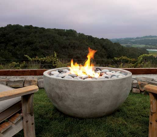 Artisan Fire Bowl In Glass Fiberreinforced Concrete With Gas - Concrete outdoor fireplace river rock fire bowl from restoration hardware