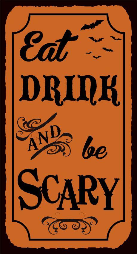 halloween drink names eat drink be scary vintage metal art typography retro tin halloween - Halloween Punch Names