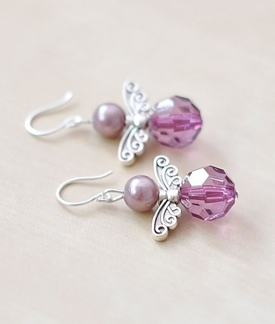 Angel Earrings Purple Pearl Jewelry Wing Jewelry by CraftDePeRaft, $12.50