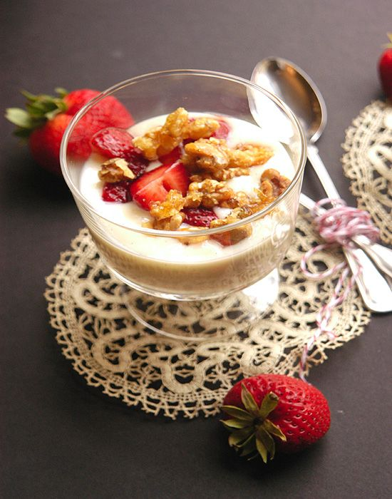 Creamy Vanilla Bean Pudding with Balsamic Macerated Strawberries and Candied Walnuts - Bashful Bao