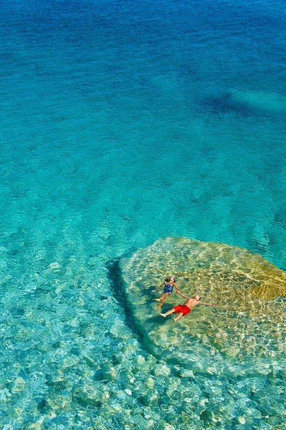 Floating in Seychelles Beach, Ikaria Greece