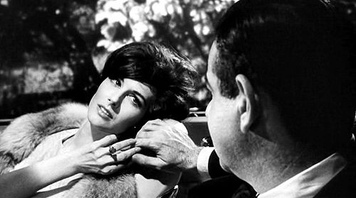 1964 Nancy Berg as Ilsa Wolfe and Walter Matthau as Professor Groeteschele in director Sidney Lumet's movie 'Fail-Safe'.