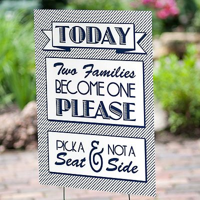 Gems Wedding Supplies - Today Two Families Become One Please Pick a Seat Not a Side Wedding Decoration Sign, $59.95 (http://www.gemsweddingsupplies.com.au/today-two-families-become-one-please-pick-a-seat-not-a-side-wedding-decoration-sign/)