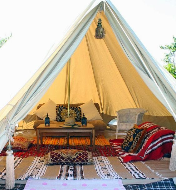 How amazing is this beautiful bell tent - really want to own one of these, interior glamping inspiration