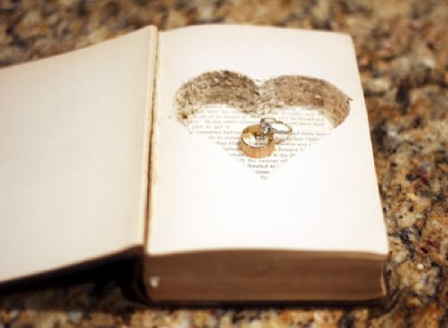 25 Ring Bearer Pillow Alternatives - Upcycled Treasures I like this book idea because books are a big deal in my life (being a writer and all) lol:
