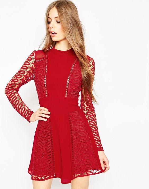 Bild 1 von ASOS – Premium – Kleid mit Spitzen- und Leiterdetails
