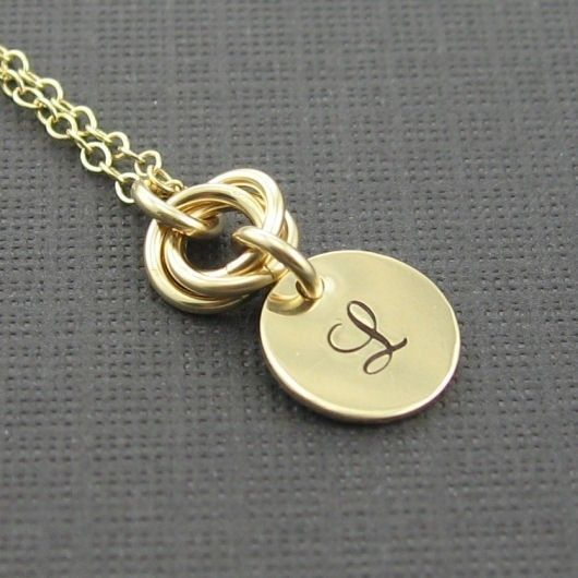 Chainmail Necklace Gold Initial Charm Pendant by prolifiquejewelry, $36.00