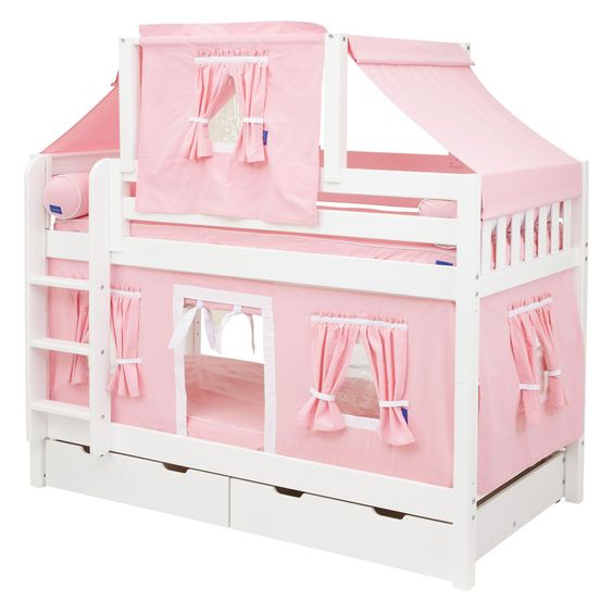 Hot Shot Girl Twin Over Twin Deluxe Tent Bunk Bed Twin