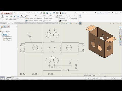 Solidworks Tutorial Sheet Metal Drawings Youtube Sheet Metal Drawing Sheet Metal Solidworks Tutorial