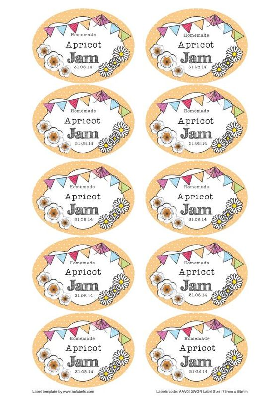 Great british summer apricot jam jar labels fonts for Jelly jar label template