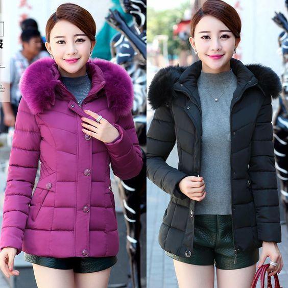 Women'S Down Cotton Jacket Long Mom Coat Hooded Big Fur Collar Warm Overcoat