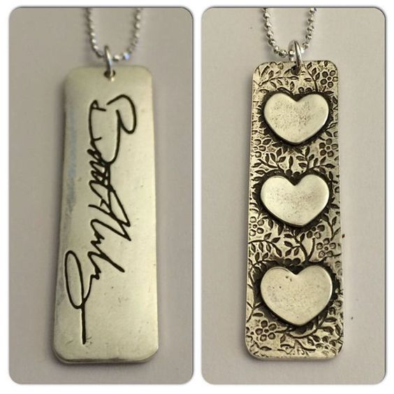 Double sided Memorial Jewelry Pendant has 3 Raised Hearts on back that can have special meanings to you - Past, present future or I love you, or whatever is meaningful for you.  Loved Ones Signature or Message on Vertical Pendant by Surfingsilver by SurfingSilver on Etsy