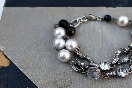 Vintage Rhinestone Inspired Bracelet~