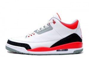 Air Jordan 3 Retro Weiß/Feuer Rot-Zement Grau