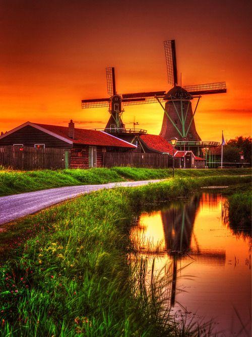 Windmill Reflection by Wolongshan  Sunset at Zaanse Schans