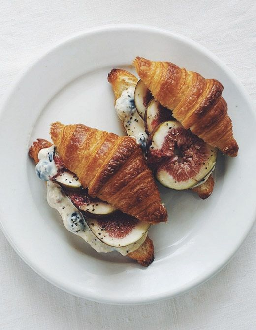 Fig and cream cheese croissant sandwich