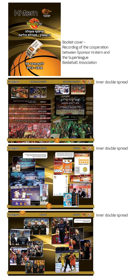 Booklet.  When The superleague Basketball Association wanted to thank their major sponsors for their cooperation throught the year, I designed for them a beautiful color-customized booklet showing some past year data, logo appearances on different branded items and, of course, great action photos