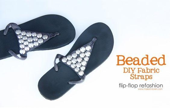Turn boring plastic flip flops into cute beaded ones!