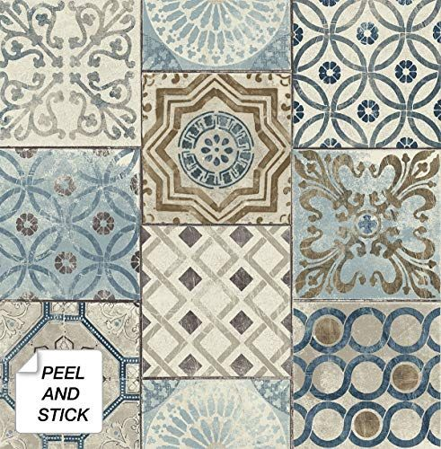 Nextwall Moroccan Style Peel And Stick Mosaic Tile Wallpaper Blue Copper Grey Nextwall In 2020 Copper And Grey Peel And Stick Wallpaper Blue And Copper