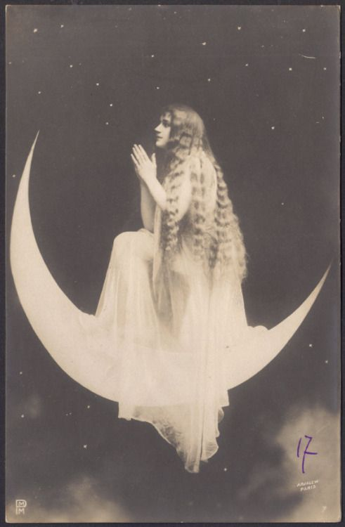 oorequiemoo:  Moon priestess Surrealistic French Postcard by Arjalew, Paris, ca 1900