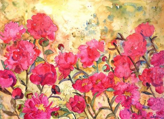 This impressionist floral watercolor painting pictures green fists of cabaret pink peonies amongst sweet and open rich rose pink blooming flowers. The background is the bright yellow sunshine with splatters of sage green and touches of teal from the dancing leaves. For sale online as a framed fine art print tor printed on gallery wrapped canvas