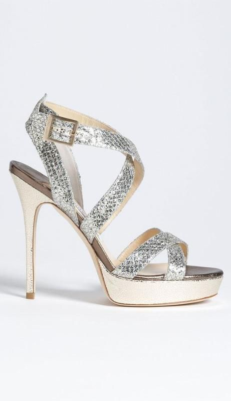Jimmy Choo | Crisscrossing straps of glitter-infused fabric encase the foot in a chic, breezy platform sandal.