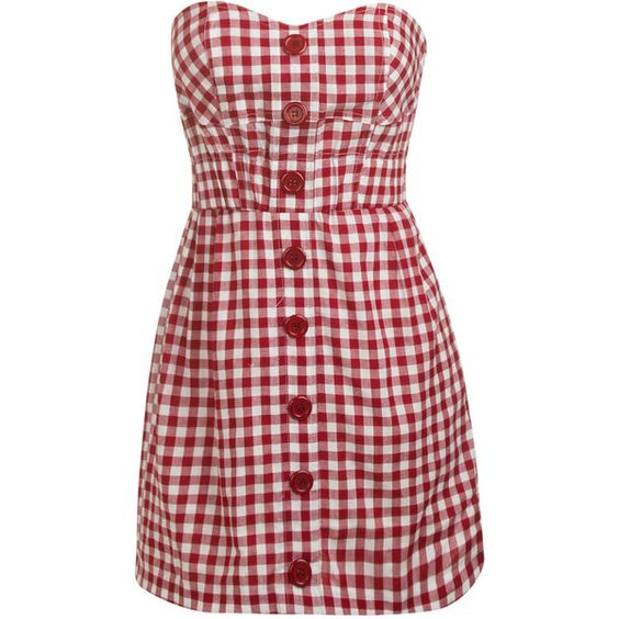 Small Check Tube Dress ($12) ❤ liked on Polyvore featuring dresses, vestidos, vestiti, red cotton dress, cotton dress, red checked dress, button front dress and tube dress
