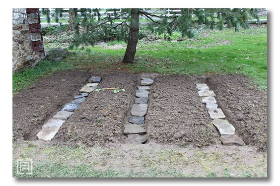 stepping stone paths within the beds