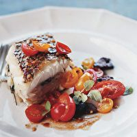 Roasted Black Sea Bass with Tomato and Olive Salad | Food | Pinterest ...
