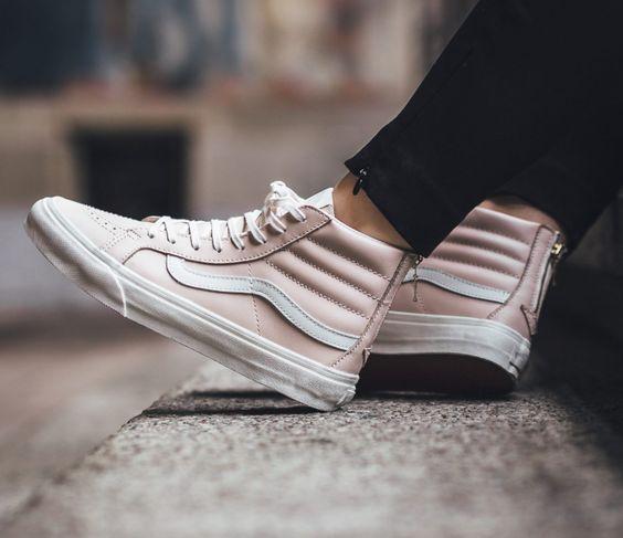 The Hue // Whispering Pink Vans Sk8-Hi Slim Zip High-Top Sneakers.: