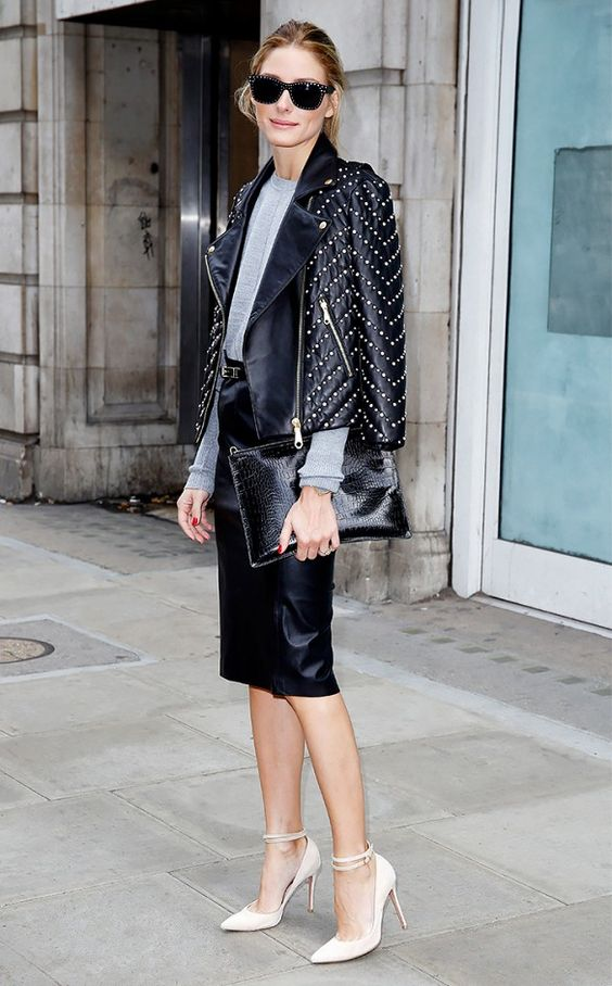 Olivia Palermo presents extra flair in her moto jacket with embellished pearls. // #Celebrity: