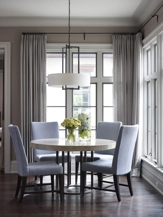 A little more formal because of fabric options and drapery...but I do like this table and chairs with different fabric.