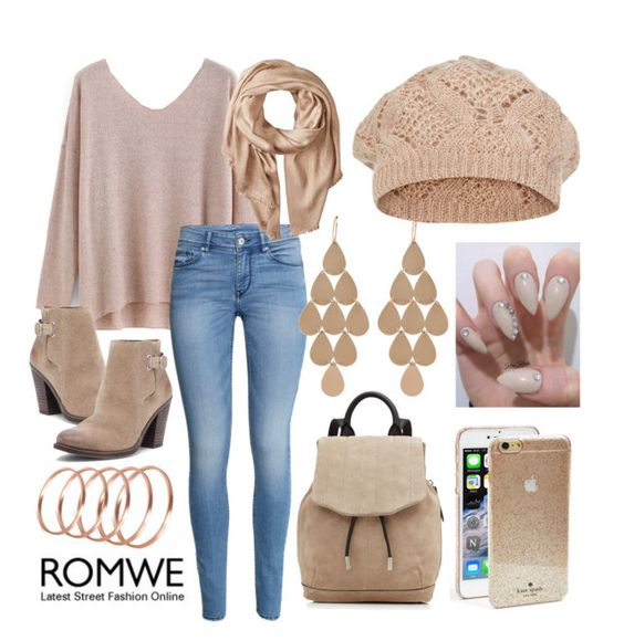 """romwe"" by bellaannabella ❤ liked on Polyvore featuring H&M, Lucky Brand, rag & bone, French Connection, Michael Stars, Irene Neuwirth, Kate Spade and Accessorize"